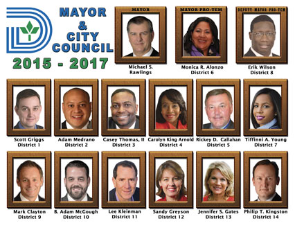 Graphic of the 2015-2017 Mayor and City Council, listing names and districts under each individual's photo.